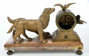 Gilt Mantel Clock with Dogs