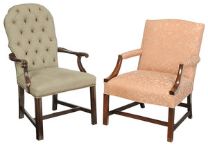 Two Georgian Style Upholstered Mahogany Arm Chairs