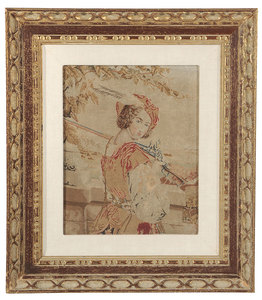 Three Needlework Pictures and Fox Horn
