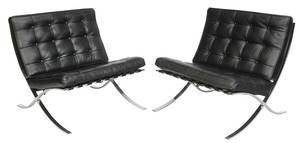 Pair Black Leather Upholstered Barcelona Chairs