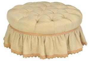Tufted Silk Upholstered Ottoman