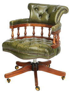 A Chesterfield Style Upholstered Desk Chair
