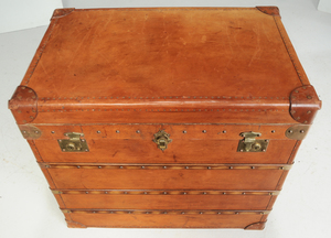 Vintage Leather Upholstered and Brass Trunk