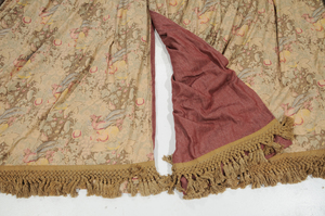 Two Drapery Panels with Five Needlework Pillows