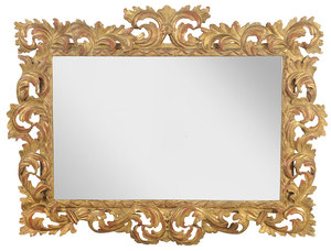 A Rococo Style Carved and Giltwood Mirror