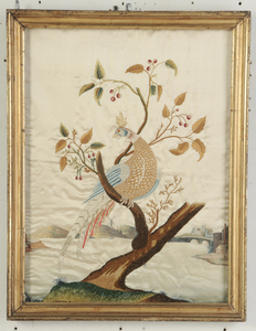 Five Framed Silk Embroideries