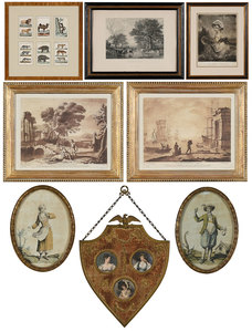 Eight Assorted European Prints