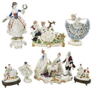 Seven German Painted Lace Porcelain Figurines