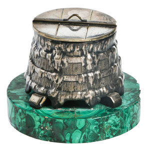 Russian Silver Plate Barrel Form Box