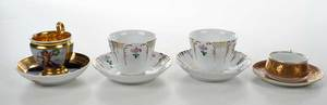 Four Russian Porcelain Cups and Saucers