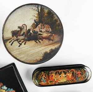 Fourteen Russian Lacquer Tabletop Objects