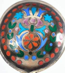Six Russian Silver Plique-à-Jour Spoons
