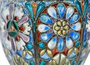 Pair Russian Silver Plique-à-Jour Goblets