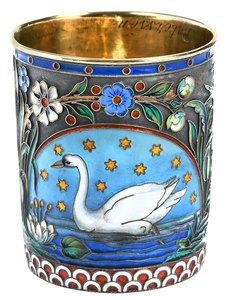 Ovchinnikov Russian Gilt Silver Champlevé Cup