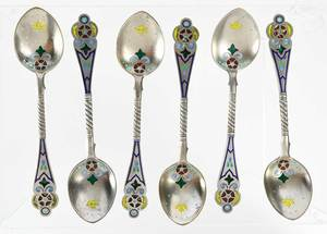 Set of 12 Russian Silver Plique-à-Jour Spoons
