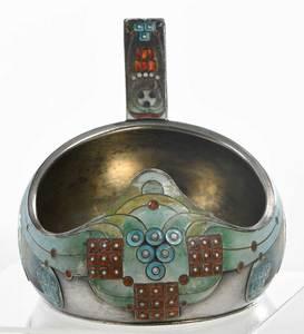 Khlebnikov Russian Silver Enamel Kovsh