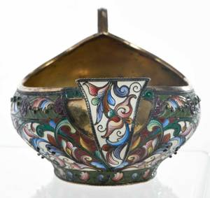 Russian Gilt Silver Champlevé Kovsh