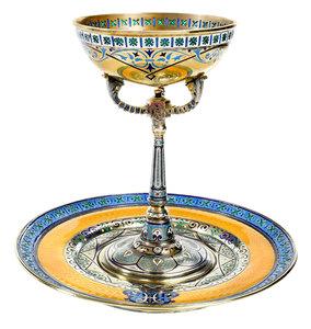 Russian Silver Gilt Plique-à-Jour Chalice or Dish