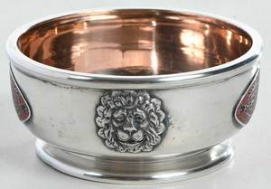 Fabergé or Fabergé Style Silver Footed Bowl