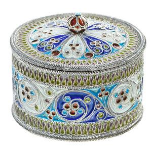 Fabergé or Fabergé Style Silver Plique-à-Jour Box
