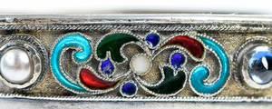 Small Russian Gilt Silver Cloisonné Kovsh