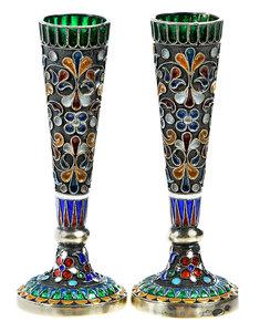Pair Russian Silver Plique-à-Jour Miniature Vases