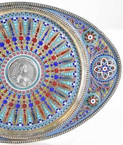 Fine Russian Silver Plique-à-Jour Tray