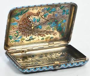 Ovchinnikov Russian Gilt Silver Plique-à-Jour Case