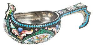 Russian Silver Gilt Champlevé Kovsh