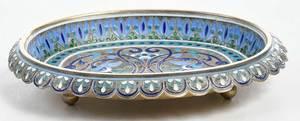 Russian Silver Champlevé Dish