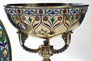 Russian Silver Plique-à-Jour Chalice or Dish