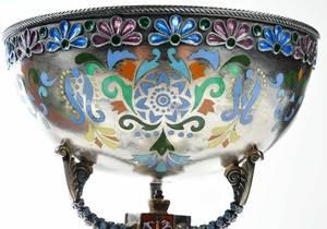 Russian Silver Plique-à-Jour Chalice and Dish