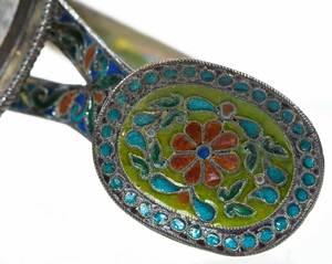Ovchinnikov Russian Silver Plique-à-Jour Glass Holder