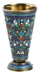 Russian Silver Champlevé Miniature Vase