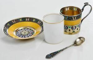 Pair of Russian Plique-à-Jour Cups/Saucers, Spoons