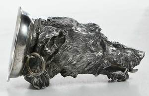 Russian Silver Stirrup Wolf Head Cup