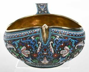 Large Russian Gilt Silver Champlevé Kovsh