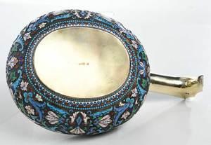 Large Russian Gilt Silver Champlevé Kovsh