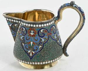 Russian Gilt Silver and Enamel Pitcher