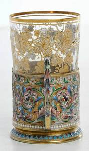 Russian Gilt Silver Champlevé Cup Holder with Glass