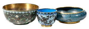 Three Fine Chinese Cloisonne Objects