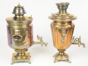 Two Russian Brass Samovars