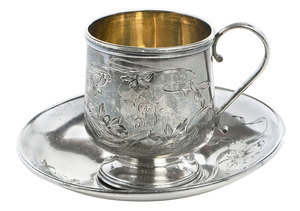 Russian Silver Teacup/Saucer