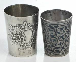 14 Russian Silver Kiddish or Vodka Cups