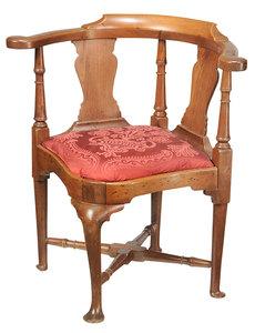 American Queen Anne Walnut Corner Chair