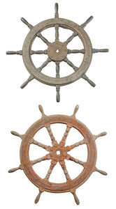 Two Vintage Wood and Iron Ships Wheels