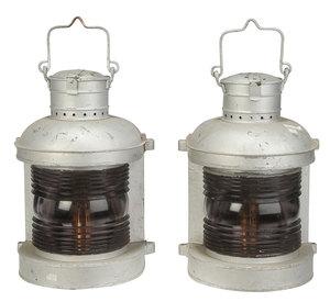Pair Of Vintage Hanging Marine Lanterns