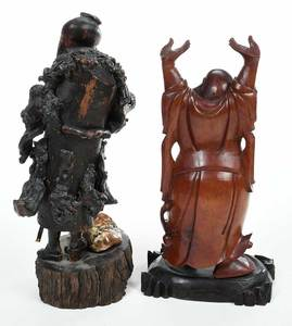 Two Carved Wood Asian Figures
