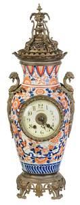 Clock-Inset and Bronze-Mounted Imari Vase