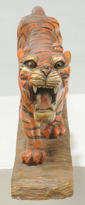 Asian Carved Wood Polychrome Tiger
